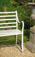 English Regency Wrought Iron Strapwork Garden Bench (5 of 9)