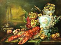 German 20th Century Oil Painting Banquet Red Lobster Serving Tray Peaches Grapes (22 of 23)