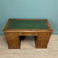 19th Century Victorian Oak Antique Pedestal Desk (2 of 7)