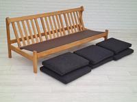 Danish Design by Børge Mogensen, Sofa Model 217, Completely Reupholstered 1970s, Furniture Wool, Oak (11 of 13)
