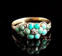 Antique Victorian Turquoise & Diamond Cluster Ring, 18ct Gold, Forget me Not (2 of 10)