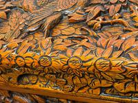 Chinese Camphor Wood Carved Birds & Flowers Chest Coffee Table (8 of 34)