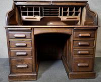Antique Edwardian Oak Roll Top Pedestal Desk (6 of 10)