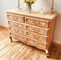 French Antique Style Chest of Drawers / Louis XV Style Raw Oak Chest (2 of 9)