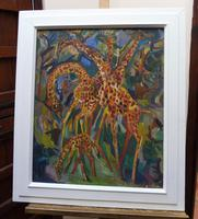 Large oil on board Giraffes in the park listed artist Henry Sanders (2 of 11)