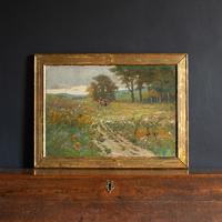 Early 20th Century German School Impressionistic Landscape with Cart (4 of 10)