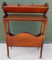 Edwardian Mahogany Magazine Rack with Book Stand (3 of 7)