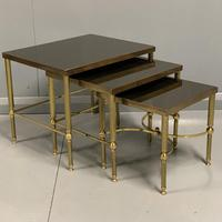 Nest of 3 Brass & Dark Glass Tables (6 of 6)