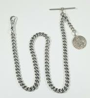 Beautiful Solid Silver Henry Allday Double Link Albert Chain & T BAR (5 of 12)