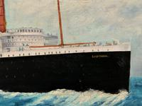 Huge Stunning Antique Seascape Oil Painting of Cunard's RMS Lusitania Ship c.1918 (7 of 16)