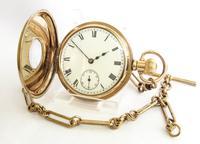 Antique Waltham Traveler Half Hunter Pocket Watch & Chain (2 of 6)