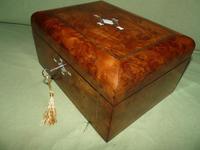Quality Inlaid Burr Walnut Jewellery Box + Tray. c1875. (10 of 12)