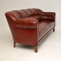 Antique Swedish Leather Club Sofa (6 of 11)