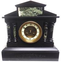 Antique French Slate & Green Marble Mantel Clock Striking 8-day (7 of 9)