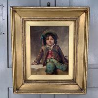 Antique Victorian oil painting portrait of young boy in hat signed JW Roberts 1887 (7 of 10)