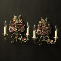 French Pair of Toleware Floral Wall Lights