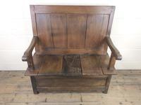 Small Antique Oak & Fruitwood Box Settle (2 of 12)