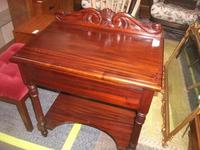 Carved Mahogany Lamp Table with Drawer