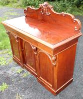1900's Large Carved Mahogany 3 Door Sideboard with Back (3 of 4)