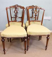 Antique Set of Four Victorian Walnut Dining Chairs (5 of 6)