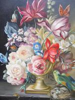 Oil on Canvas Still Life with Parakeet Artist George Rennie (10 of 11)