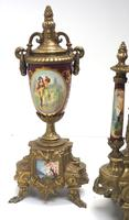 Vintage Sevres Mantel Clock Garniture 8 Day Striking Ormolu Mantel Clock (4 of 14)