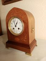 Inlaid Light Mahogany Lancet-top Mantel Clock (4 of 7)