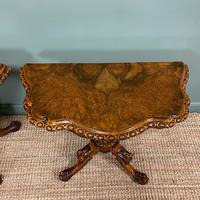 Stunning Pair of Victorian Walnut Antique Card Tables (7 of 9)