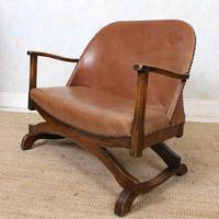 Carved Oak Leather Bucket Sofa & Chair (8 of 24)