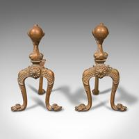 Pair  of Antique Decorative Fireside Tool Rests, French, Brass, Andiron, Victorian (2 of 12)