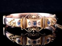 Antique Sapphire and Diamond bangle, 9ct Rose gold (10 of 11)