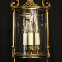 French Gilded Triple Light Convex Hall Lantern (7 of 10)