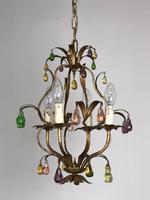 Vintage French Gilt Toleware & Murano Style Chandelier (5 of 13)