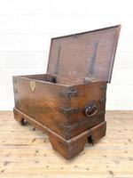 Antique Mahogany Metal Bound Trunk with Wheels (8 of 10)