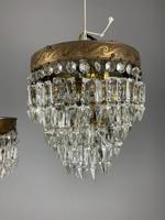 Pair of French 1930s Flush Ceiling Crystal & Brass Ceiling Lights, Rewired (3 of 9)