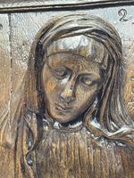 Pair of Antique Belgium Ecclesiatical Mary & Jesus Wall Plaster Plaque Sculptures (7 of 18)