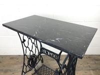Antique Singer Sewing Machine Table with Marble Top (3 of 8)