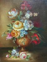 Superb Original Early 20th Century Continental Miniature Floral Still Life Oil Painting (5 of 11)