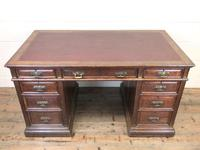 Antique Oak Pedestal Partners Desk (2 of 9)
