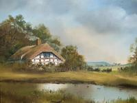 Lovely 'Chocolate Box Quality' Vintage 20thc English Landscape Oil Painting (9 of 15)