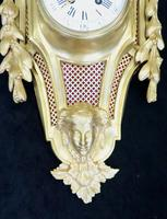 French Louis XVI Style Bronze Gilt Cartel Wall Clock (4 of 7)