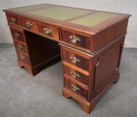 Reproduction Carved Mahogany Kneehole Pedestal Desk (3 of 11)