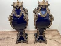 Pair of French Large Rams Heavy Bronze Blue Ceramic Table Lamps (40 of 46)