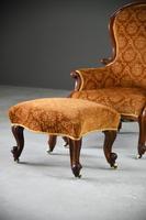 Antique Victorian Mahogany Armchair & Footstool (7 of 12)