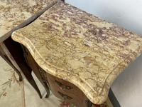 French Marquetry Bedside Tables Cabinets With Marble Tops Louis XVI Bombe Style (10 of 10)