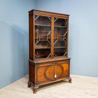 Mahogany & Burr Walnut Glazed Bookcase