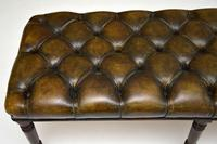 Antique Deep Buttoned  Leather & Mahogany Stool (6 of 8)