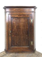 Antique Georgian Oak Hanging Corner Cupboard with Brass Knobs (9 of 9)