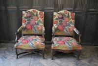 Pair of French Regence Carved Walnut Library Fauteuils (2 of 9)