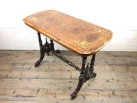 Victorian Walnut Inlaid Stretcher Table or Side Table